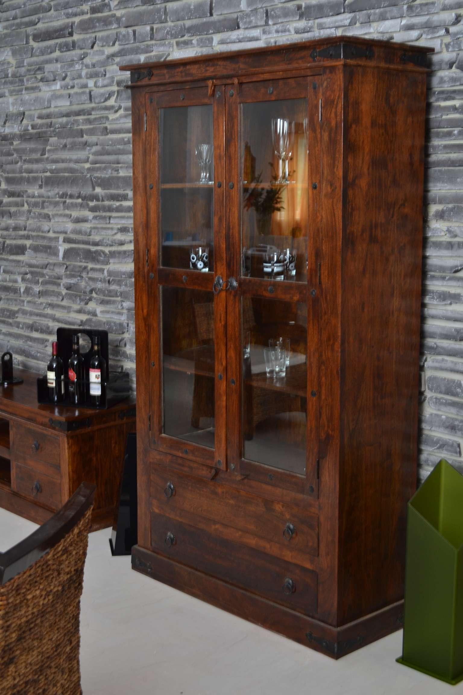 vitrine colombo 20530 massivholz m bel akazie walnu ebay. Black Bedroom Furniture Sets. Home Design Ideas