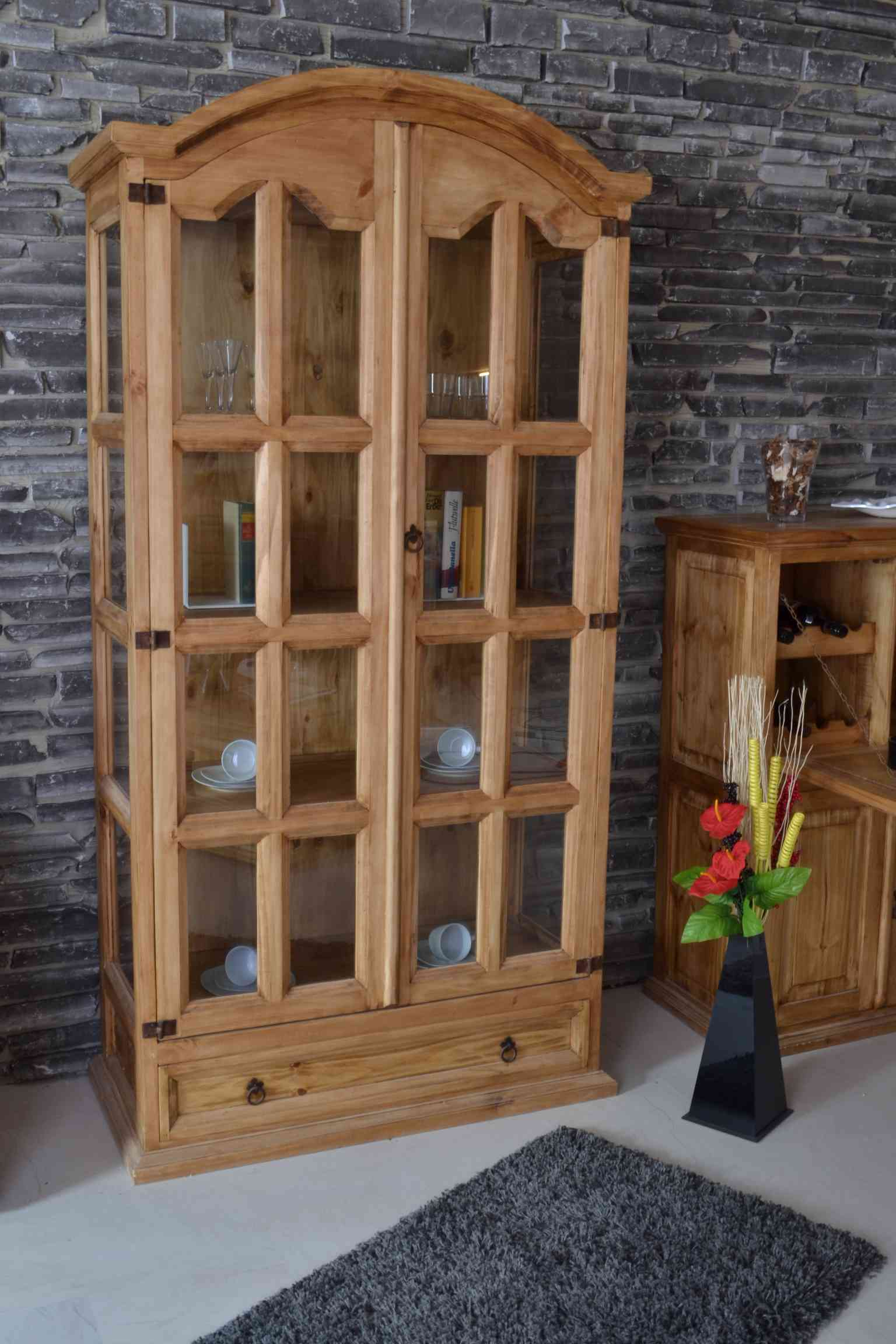 mexico vitrine massivholz m bel pinie honig 10022 mexiko. Black Bedroom Furniture Sets. Home Design Ideas